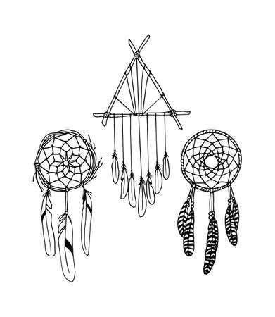 sacred symbol: Vector illustration of hand drawn dreamcatchers. Ancient native americans sacred symbol. Beautiful ethnic design elements.