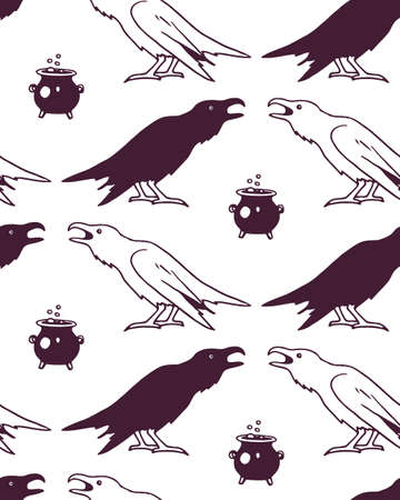 creepy hand: Vector seamless pattern with hand drawn creepy and comic images of black and white ravens and witch cauldron. Halloween design elements. Perfect for Halloween holiday prints and patterns. Illustration