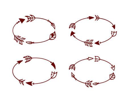 Vector graphique ensemble de flèches dessinées à la main formant des cadres ovales. Belles ethniques éléments de conception.