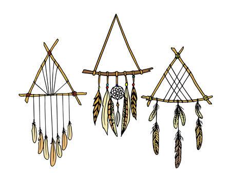 sacred symbol: Vector illustration of hand drawn triangle dreamcatchers. Ancient native americans sacred symbol. Beautiful ethnic design elements. Illustration