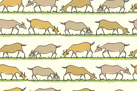 herd: Vector seamless pattern with hand drawn goat herd eating fresh grass on a meadow. Beautiful design elements, cute animal characters. Horizontal rows. Illustration