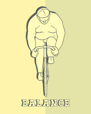 working hard: illustration of an overweight person riding a bike, working hard.  made in retro style. The visualization of the art to maintain balance.