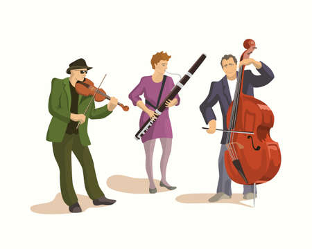 fagot: illustration of a street musical band - young violin player, female bassoon player and contrabass player. illustration of street musicians.
