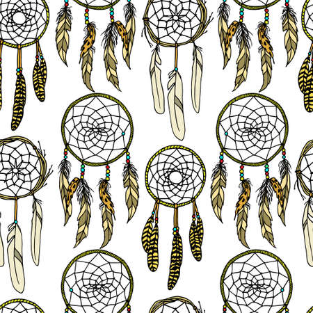 sacred symbol: seamless pattern with round dreamcatchers. Ancient native americans sacred symbol. ethnic design elements. Illustration