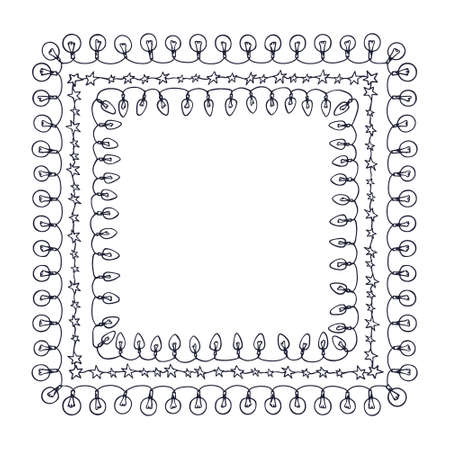 festoons: Vector graphic set of hand drawn holiday festoons forming square frames. Hand drawn borders of light bulbs and stars. Beautiful design elements. Illustration