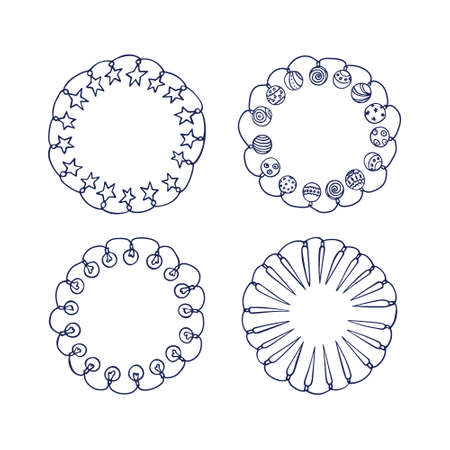 festoons: Vector graphic set of hand drawn holiday festoons forming round frames. Hand drawn wreath of light bulbs, stars ans Christmas balls. Beautiful design elements.
