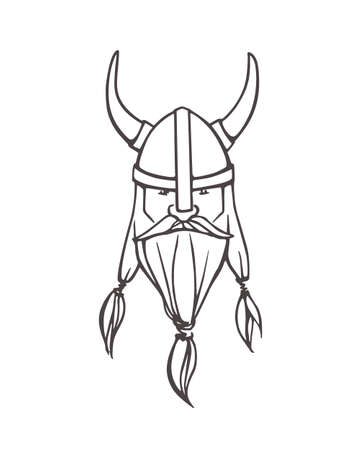 Hand drawn head of bearded viking with helmet on. Vector illustration of northern rough warrior. Heavy contour, graphic style. Illustration