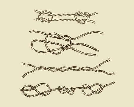 Vector graphic set di disegnati a mano nodi nautici. Bei elementi di design nautico.