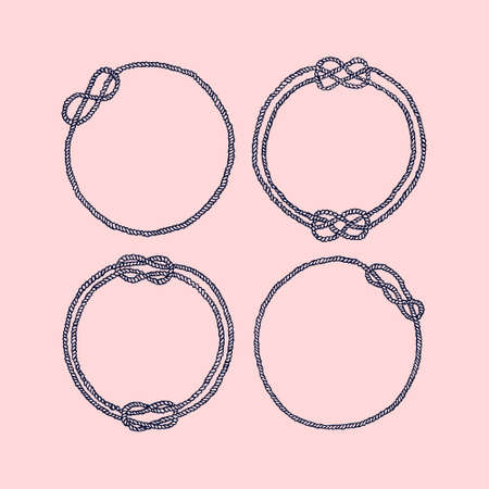 Vector graphic set of hand drawn round frames made of rope. Beautiful nautical design elements. Different shapes