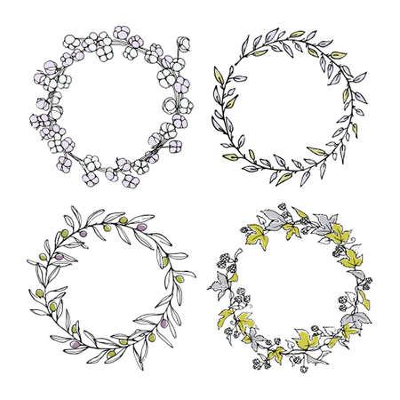 Hand getrokken bloemenkroon set gemaakt in vector. Sierlijke slingers van hop-, olijf-, katoen- en wilgentakken. Romantische bloemenontwerpelementen, mooi kleurenpalet