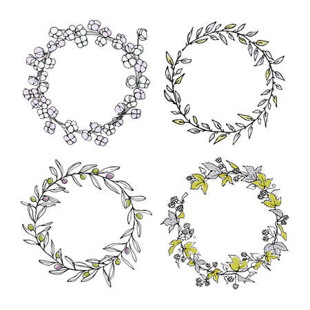 Hand drawn floral wreath set made in vector. Graceful garlands of hop, olive, cotton and willow branches. Romantic floral design elements, beautiful color palette