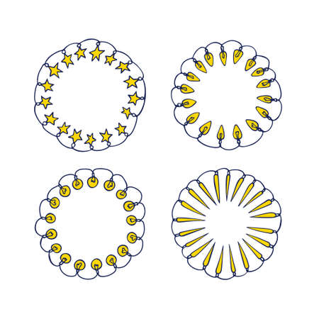 Vector graphic set of hand drawn holiday festoons forming round frames. Hand drawn wreath of light bulbs and stars. Beautiful design elements.
