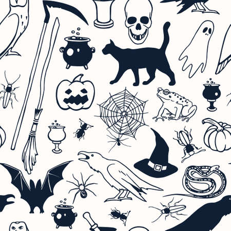 creepy hand: Vector seamless pattern with hand drawn creepy and comic images. Halloween design elements. Perfect for Halloween holiday prints and patterns. Illustration