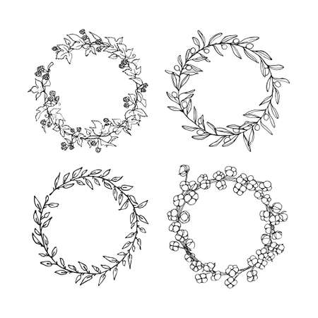 Hand drawn floral wreath set made in vector. Graceful garlands of hop, olive, cotton and willow branches. Romantic floral design elements. Stock Illustratie
