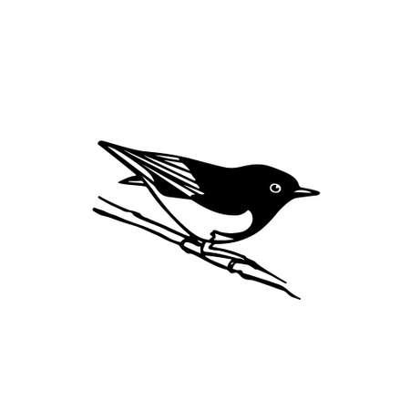 Ilustracji wektorowych wyciągnąć rękę Ameryki Północnej ptak siedzi na gałęzi. Rysunek tuszu, styl graficzny.