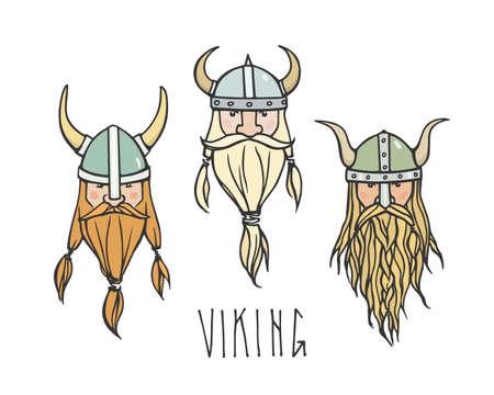 Dibujado a mano la cabeza de vikingo con barba y cascos. Ilustración del vector de rudos guerreros del norte. contorno pesada, estilo gráfico. Ilustración de vector