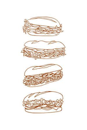Vector grafische reeks van hand getrokken broodjes gemaakt in lineaire stijl. Beautiful food design elementen, perfect voor elk bedrijf met betrekking tot de voedingsmiddelenindustrie.