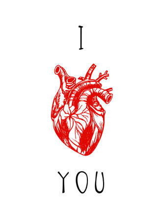 Vector card with hand drawn human heart and love confession. Anatomy drawing made in graphic style placed in romantic contex.