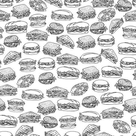 patty: Vector seamless pattern with hand drawn delicious sandwiches. Beautiful food design elements, perfect for any business related to the food industry.