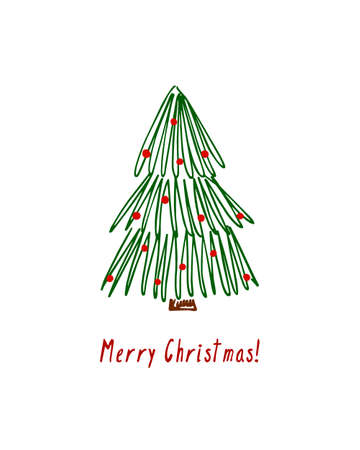 Vector card with hand drawn decorated Christmas tree. Beautiful Christmas design elements, doodle style,  minimalistic design