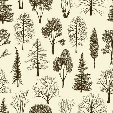 Vector seamless pattern with hand drawn trees. Beautiful floral design elements, perfect for prints and patterns