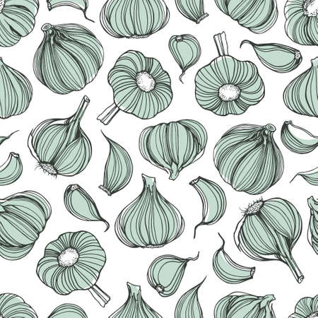 cloves: Vector seamless pattern with hand drawn garlic cloves. Beautiful design elements, perfect for prints and patterns.