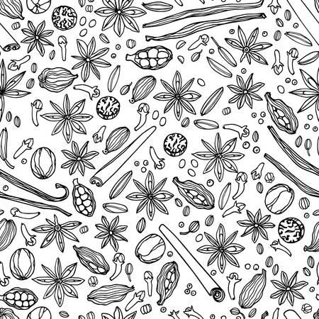 手でシームレスなパターンをベクトルには、スパイスが描かれています。美しい食べ物デザイン要素、食品業界に関連するすべてのビジネスに最適  イラスト・ベクター素材