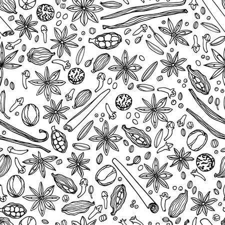 Vector seamless pattern with hand drawn spices. Beautiful food design elements, perfect for any business related to the food industry.