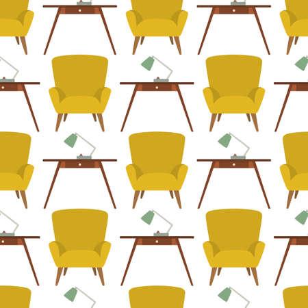 mid century modern: Furniture seamless pattern