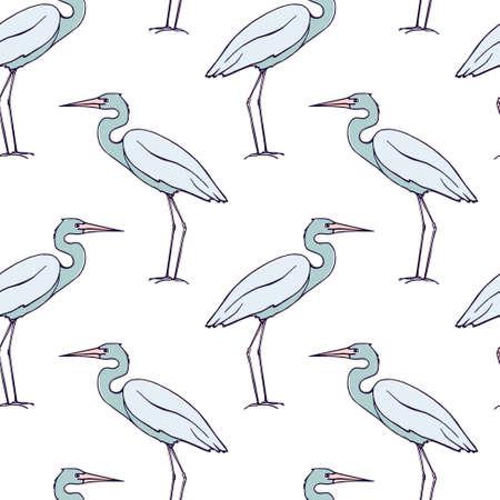 blue heron: Herons seamless pattern