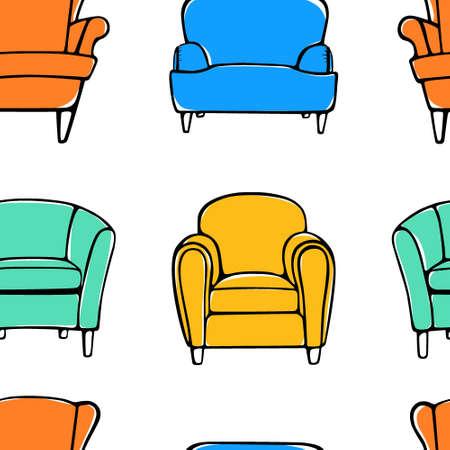 Armchairs seamless pattern