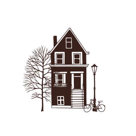 porch: City house illustration