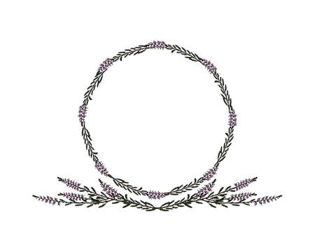 Hand drawn heather frame isolated on white background.