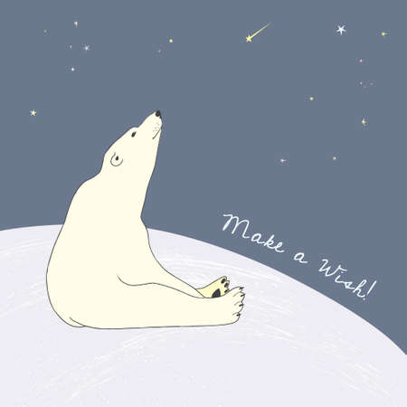 Polar bear birthday card Illustration
