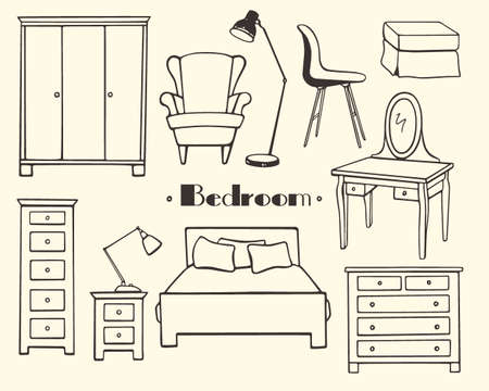 bedroom furniture: Bedroom furniture illustration