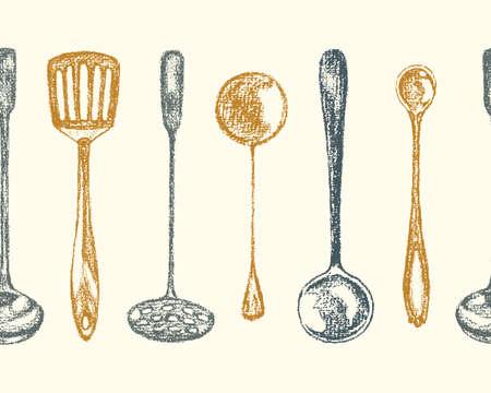 Silver spoons pattern Illustration