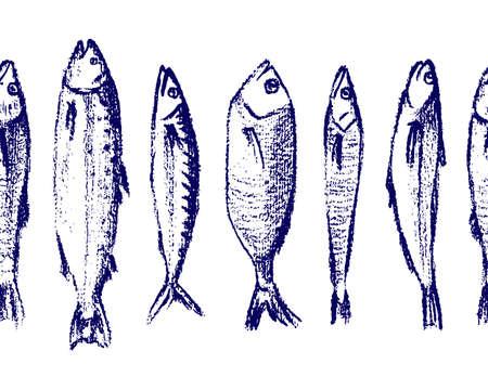Hand drawn fish pattern