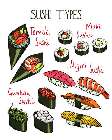 Hand drawn sushi  イラスト・ベクター素材
