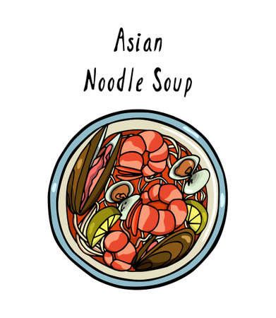 Hand drawn asian noodle
