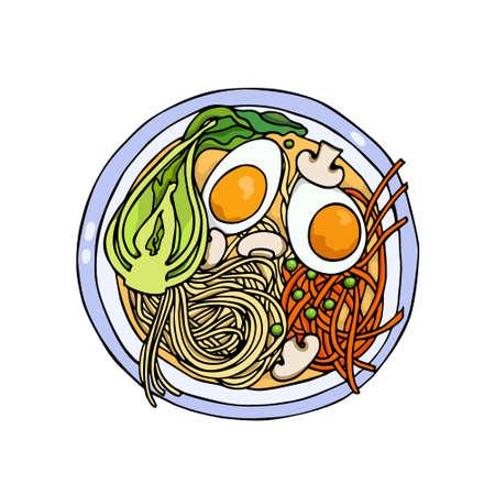 Hand drawn asian noodle Illustration