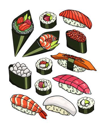 Hand drawn sushi Stock Photo