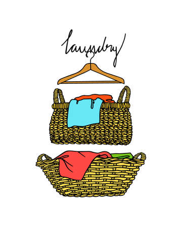 Vector illustration of hand drawn wicker basket with laundry.  Ink drawing, graphic style. Beautiful household design elements.