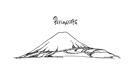 snowcapped mountain: Vector illustration of hand drawn South American volcano. Ink drawing, graphic style. Perfect for travel, sport or spiritual designs.