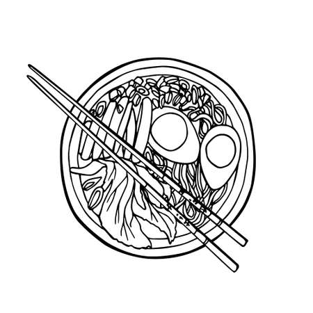 Vector illustration of hand drawn asian noodle bowl and chopsticks. Beautiful food design elements, perfect for any business related to the food industry.