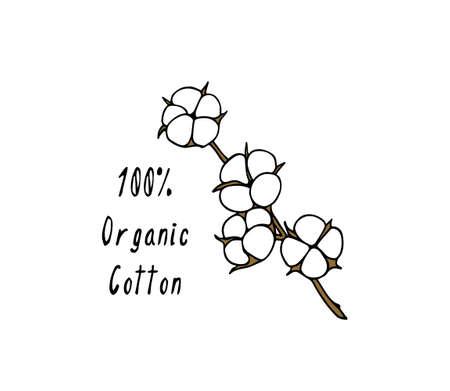 Organic cotton emblem Illustration