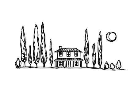Toscana paesaggio illustrazione Vettoriali