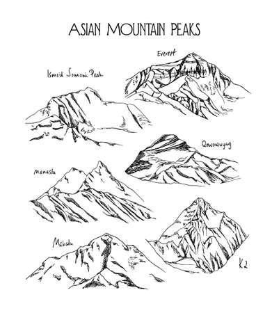 Hand drawn mountain peaks