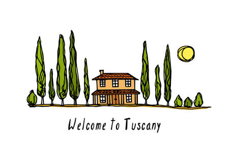 Vector travel poster with hand drawn Tuscany landscape with rural house and cypresses arranged in a line. Ink drawing, graphic style. Beautiful design elements.