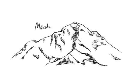 Hand drawn mountain peak Illustration