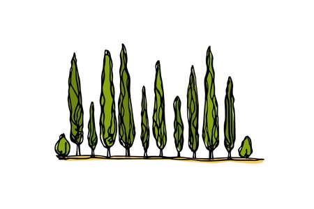 Toskana Landschaft Illustration Standard-Bild - 83377117